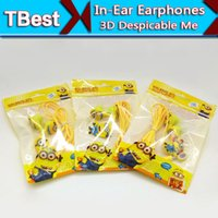 Wholesale Despicable Headphones - Clear Voice Cartoon In-ear Earphones Wired 3.5mm Headphone 3D Despicable Me Minions Model Headset For MP3 MP4 Cell Phone