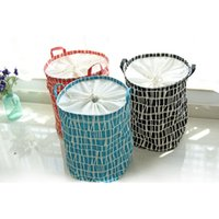blue clothes hamper - Black Red Blue Color Can Choose Zakka Home Storage Toys Basket Printing Stripe Designs Linen Laundry Clothes Hamper Baskets