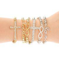 armband kreuz perlen stecker großhandel-24ST CHARME Kreuz / Infinity / Bar Perlen seitwärts Stecker Armbänder Metall Perlen Schmuck