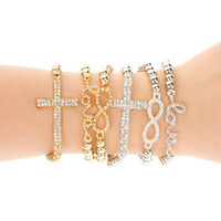 Wholesale Sideways Cross Infinity Bracelet Charms - 24pcs CHARM Cross   Infinity   Bar Beads Sideways Connector Bracelets Metal Beaded Jewelry