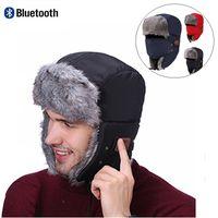 Wholesale Fur Headphones - Winter Warm Wireless Bluetooth Music Beanies Hats with Headset Headphone Speaker Mic Caps Faux Fur Ski Motorcycle Windproof Hooded Hat