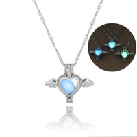 Wholesale Glass Plate Pendant Light - 2018 hot night Luminous light cage necklace pierced wings peach heart pendants necklaces Spot direct christmas love jewelry gift wholesale