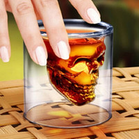 Wholesale Doomed Shot Glass - Doomed Crystal Skull Head Double Wall Vodka Shot Glass Cup for Home Bar Birthday Party Beer Wine Whisky Drinking Glasses Cup 75ML