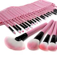 woll make-up pinsel großhandel-32 STÜCKE Rosa Wolle Make-Up Pinsel Werkzeuge Set mit PU Ledertasche Kosmetische Gesichts Make-up Pinsel Kit Kostenloser Versand