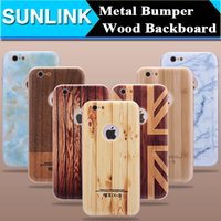 Wholesale Wood Iphone Bumper - 2017 New Wood Wooden Grain Case Marble UK Flag Design Hard PC Cover for iPhone 6 wood case 6plus Metal Bumper Shell