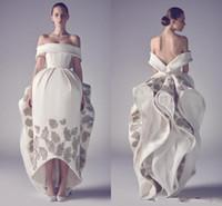 neues muster-partykleid großhandel-Neue Designer Ashi Studio Emboridery Brautkleider aus der Schulter 2019 Party Dress Satin Pattern Flower Brautkleid