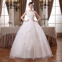Wholesale Simple Wedding Dresses Korean Style - free shipping 2016 Hot Sale Sweetangel One-Shoulder Korean Style Princess Sweet Lace Wedding Dress Cheap Wedding Dresses China