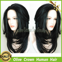 Wholesale Long Straight Layered Wigs - Virgin Human Hair Layered Straight Full Lace Wigs Brazilian Hair Lace Front Wig With Natural Color And Baby Hair
