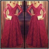 Wholesale Women Open Robes - 2016 Abendkleider Elegant Red Wine Lace Evening Dresses With Long Sleeves V Neck Appliques Open Back Women Formal Gowns Robe De Soiree