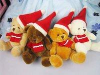Wholesale Soft Teddy Bears Wholesalers - New Cartoon Christmas Bear plush toys Teddy Bear Stuffed Animals doll 20cm 8 inches Children best Christmas gift C155