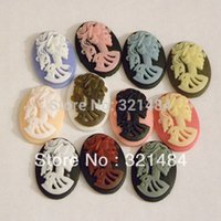 Wholesale Skull Cabochons - 18x25mm Oval 100pcs Ladies Skull Cameo Resin Cabochons DIY Jewelry Findings