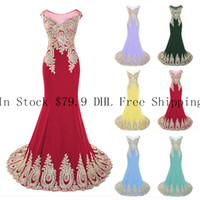 Wholesale Corset Evening Gown Chiffon - 2015 New Evening Dresses Prom Formal Pageant Gown In Stock Sheer Neckline Mermaid Appliqued Chiffon Corset Green Black Red Lilac Mint Cheap