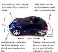 Wholesale Desktop Shaped Usb - Wholesale-Wireless Car Shaped Mouse Mice USB With Colorful Flash For Desktop laptop Black