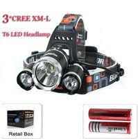 Wholesale Set Ultrafire - Free Epacket,Whloe set 5000 Lumen 3XCREE XM-L T6 LED Headlamp Headlight 18650 Head Torch Lamp+2 Ultrafire 18650 3000mah Recharge Battery