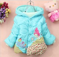 Wholesale Small Girls Down Coat - Children's outerwear 2016 New Winter coat cute little house small cotton-padded clothes girls hooded jackets free shipping