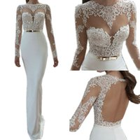 Sexy Illusion Lace Long Sleeves Wedding Dresses 2016 Sheer Neck Gold Belt Sheath Fishtail Backless Wedding Gowns Дешевые