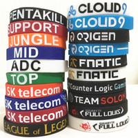 bracelet légendes de la ligue achat en gros de-20 designs bracelet LOL LOL GAMES Souvenirs Bracelet en silicone LIGUE DE LEGENDS Bracelets avec ADC, JUNGLE, MID, SUPPORT, TOP D599
