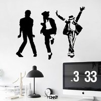 Wholesale Mj Stickers - Michael Jackson Removable Vinyl Wall Stickers MJ Music Dancing Art Wall Stickers Home Decor Free shipping