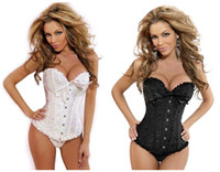 Wholesale Waist Training Corsets String - 2015 new sexy Women lace Corset Bustier set waist training corsets+g-string PUSH UP Shapers Satin Underwear black red white blue S,M,L,XXL