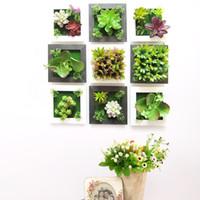 стикер стены зеленый доске оптовых-творческий 3D цветок искусства стены стикеры ofing стереоскопический гостиная главная сельских моделирования растений висит орнамент суккуленты украшения