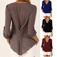 yaz şifon bluz artı boyutu toptan satış-Kadın Artı Boyutu Zarif V Yaka Rahat Moda Bluzlar Tops Uzun Kollu Şifon Sonbahar İlkbahar Yaz Tees
