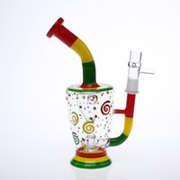 Wholesale Hand Painted Water - Painted Young-Style Glass Bongs Oil Rig Water Pipes Tyre Percolator Hand-Blown Recycler Smoking Bongs Cheap Pipe Hookahs Free Shipping