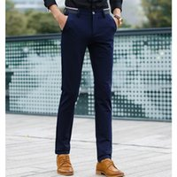 Wholesale mens grey skinny suit - Wholesale- Men Formal Pants Classic Pleated Front Long Dress Pants Regular Fit mens Dark Grey Straight Trousers of Suits cotton 2017 navy