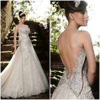 Wholesale Online Cheap Lace Front - High Quality Ellie Saab Wedding Dress 2015 Formal Floor Length Backless Sexy Cheap Online Beach Applique A-Line Sleeveless Wedding Dresses