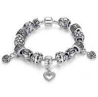 Wholesale Heart Magnetic Beads - Vintage 925 Silver Bead Bracelets Womens Heart Pendant Charm Bangles Magnetic Snap Fine Jewelry Handmade Chirstmas Gifts K1057