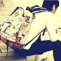 Cheap 2014 new fashion boy girl men women newspaper backpack personalized vintage travel school bag Canvas Backpack lovers school bag