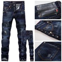 Wholesale Korean Men Slim Trouser - 0137 Men's trousers fall and winter high-end dark hole in the skull whiskers Men Korean Slim Straight Jeans