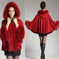 Wholesale Bat Hoody - Wholesale-winter clothes hot sale bat sleeve women cashmere cardigan knitting loose shawl with faux fox fur collar hoody ladies sweater