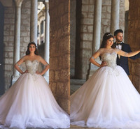 Wholesale Traditional Wedding Ball Gowns - 2016 African Traditional Vintage Wedding Dresses Beads Crystal Tulle Sheer Illusion Long Sleeves Sweep Train Bling Arabic Bridal GownsBO8827