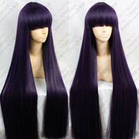 Envío gratis al por mayor Anime Inu x Boku SS Ririchiyo Shirakiin 100 cm Purple Mix Black Cosplay peluca E083
