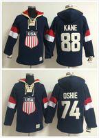 dantel sweatshirt toptan satış-Fabrika Outlet, Patrick Kane Kış Olimpiyatları Takımı ABD T.J. Oshie Hokeyi Sawyer Lace Up Kazak Kapüşonlu Sweatshirt Sıcak Satmak