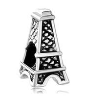 Wholesale pandora eiffel - Eiffel Tower Shaped Lucky European Charm Spacer Fit Pandora Bracelet Wholesale Large Hole Metal Slide charm