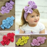Wholesale Babys Headbands - 2016 Hair Bow Headband Toddler Girls Mulit Colors Cotton Bow Accessories Little Babys Headwear Hair Bow Funky Popular Nine Color Hairban