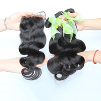 Wholesale Buy Closure - Buy 3 Get 4 Brazilian Body Wave Human Hair Weaves With Lace Closure Unprocessed Malaysian Indian Cambodian Peruvian Hair Bundles And Closure
