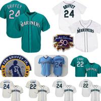 71d262d01 ... Replica Teal Green Alternate Cool Base MLB Jersey Baseball Men Short Mens  Seattle Mariners 24 Ken Griffey Jr. Flex Jersey 22 Robinson Cano ...