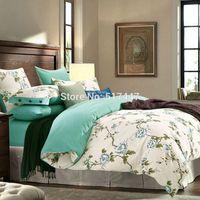 Wholesale Green White Flowered Quilt - Fashion european Green white 3d flowers bedsheet bedding set 4pcs king queen size double bedclothes bed duvet quilt cover cotton