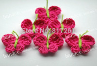 Wholesale Xmas Felt Ornaments - free shipping 30 pic lot crochet lace felt for xmas decoration Christmas tree ornament 2014 new decorations for santa butterllfy