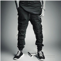 Wholesale Street Swag - New Mens men high fashion denim black biker rappied distressed jean joggers Street casual swag hiphop jeans pants masculina free shipping