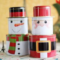 latas redondas de navidad al por mayor-Decoración de navidad Lata Latas redondas Juego de 3 bloques Muñeco de nieve Papá Noel Navidad Caja de almacenamiento de lata de regalo Ladrillos Organizador