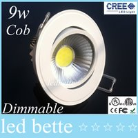 Wholesale Dimmable Warm White 9w - Cree Cob Ceiling Light Dimmable Led Downlight Recessed 9w 600lm Led Light lamp light 110-240v White Shell Warm cold white
