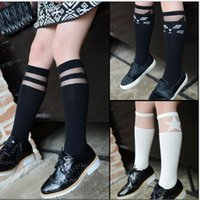 Wholesale Wholesale Knee High Socks Clothing - 12 Style 2015 Spring Girls Lace Mid-Calf Length Sock Knee Highs Footwear Children Socks Kids Clothes Soft Cotton Stockings Sock K3758