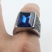 Wholesale Square Blue Ring - High Quality Men's Cool Silver 316L Stainless Steel Blue Square Gem Casted Band Ring