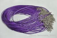 "Wholesale Purple Waxed Cord - FREE Shipping Wholesale 100Pcs lot Purple Wax line fit DIY Necklace Cords 18.5"" #ac29"