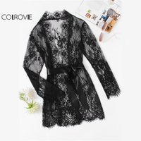 COLROVIE Pizzo Floreale Nero Sheer Robe Donne Self Tie Vita Vintage Sexy Manica Lunga Robes 2017 New Plain Damigella D'onore Kimono Robe q1113