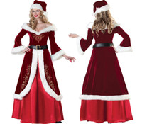 Wholesale sexy christmas lady outfits - Ladies Sexy Long Gown Miss Santa Christmas Party Fancy Dress Costume Outfit 88766 one size S-L