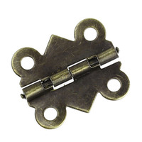 Wholesale 50pcs mm mm bronze color Cabinet Door antique Furniture hinge metal printing small wooden gift box hinge small holes